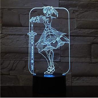Luces de noche 3D LED de dibujos animados Ilusión 3D 7