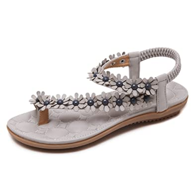 Strandsandalen Damen Tangas Non-Slip Mode Sandalen Offene Flache Fersen Flower Style 35-41