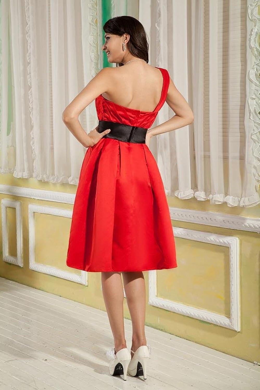 GEORGE BRIDE One-Shoulder Ruched Knee Length with Black Sash Evening Dress