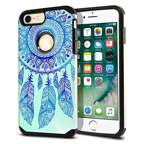 FINCIBO Case Compatible with Apple iPhone 7 Plus/8 Plus, Dual Layer Hard Back Hybrid Protector Cover Anti Shock TPU Skin For Apple iPhone 7 Plus/iPhone 8 Plus - Teal Blue Dream Catcher