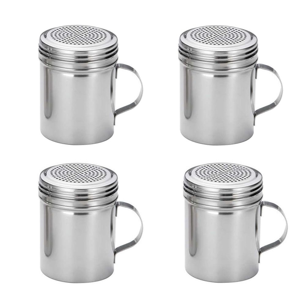 (Set of 4) 10 Ounce Stainless Steel Dredge with Handle, Salt, Pepper, Spice, Sugar Shaker Set