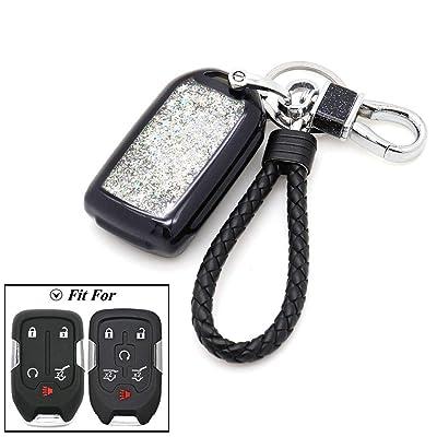 Senauto Quicksand Key Fob Cover Case Keychain for GMC Acadia Terrain Yukon Sierra & Chevrolet Suburban Tahoe Silverado (Black): Automotive