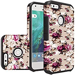 HR Wireless Cell Phone Case for Google Pixel XL - Romantic Pink White Roses Floral