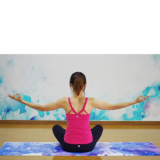OOFAN Yoga Mat Imprimir Flor Antideslizante Tela De Hilado ...