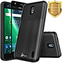 Nokia 2 Case with [Full Coverage Tempered Glass Screen Protector], NageBee [Brushed] Heavy Duty Defender Dual Layer Protector Shock Proof Case For Nokia 2 (Black)