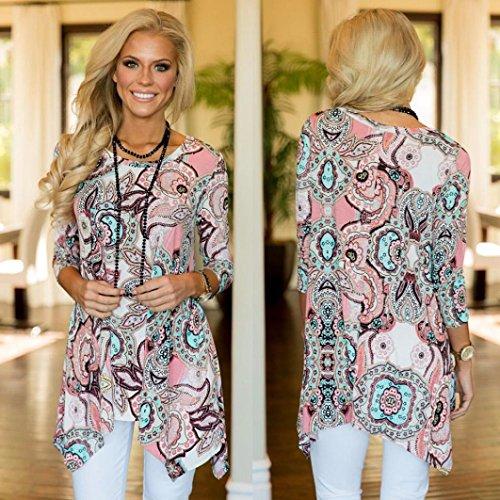 ❤️Femmes Blouse T Rose manches à Blouse Casual Irrégulier Shirt longues Imprimé Dessus Tefamore lches rSwrtq