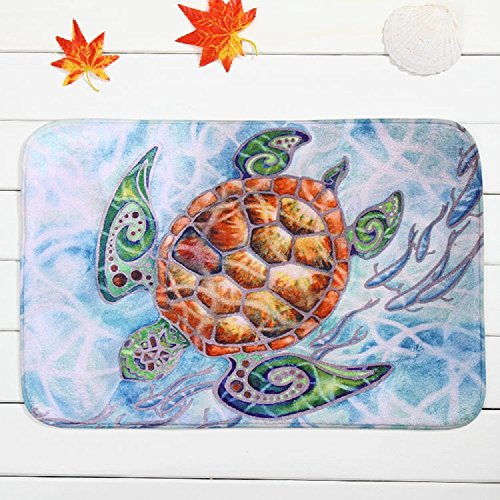 (EZON-CH Modern Non Slip Sea Turtle Bathroom Bath Shower Bedroom Mat Toilet Floor Rug Carpet Pad(24x32in))