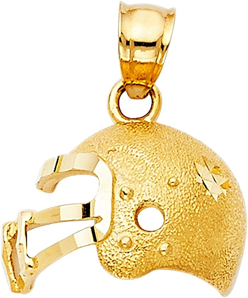 14k Yellow Gold Football Helmet and Ball Pendant