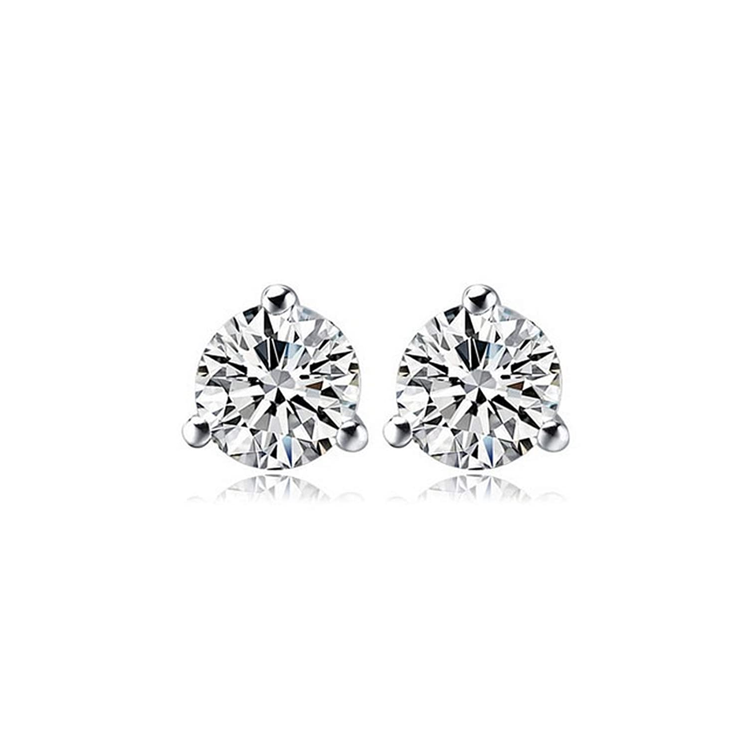 Silver Earrings By CS-DB Classic 3 Prongs 1 Single Round Clear AAA Cubic Zirconia Stud Earrings For Womens