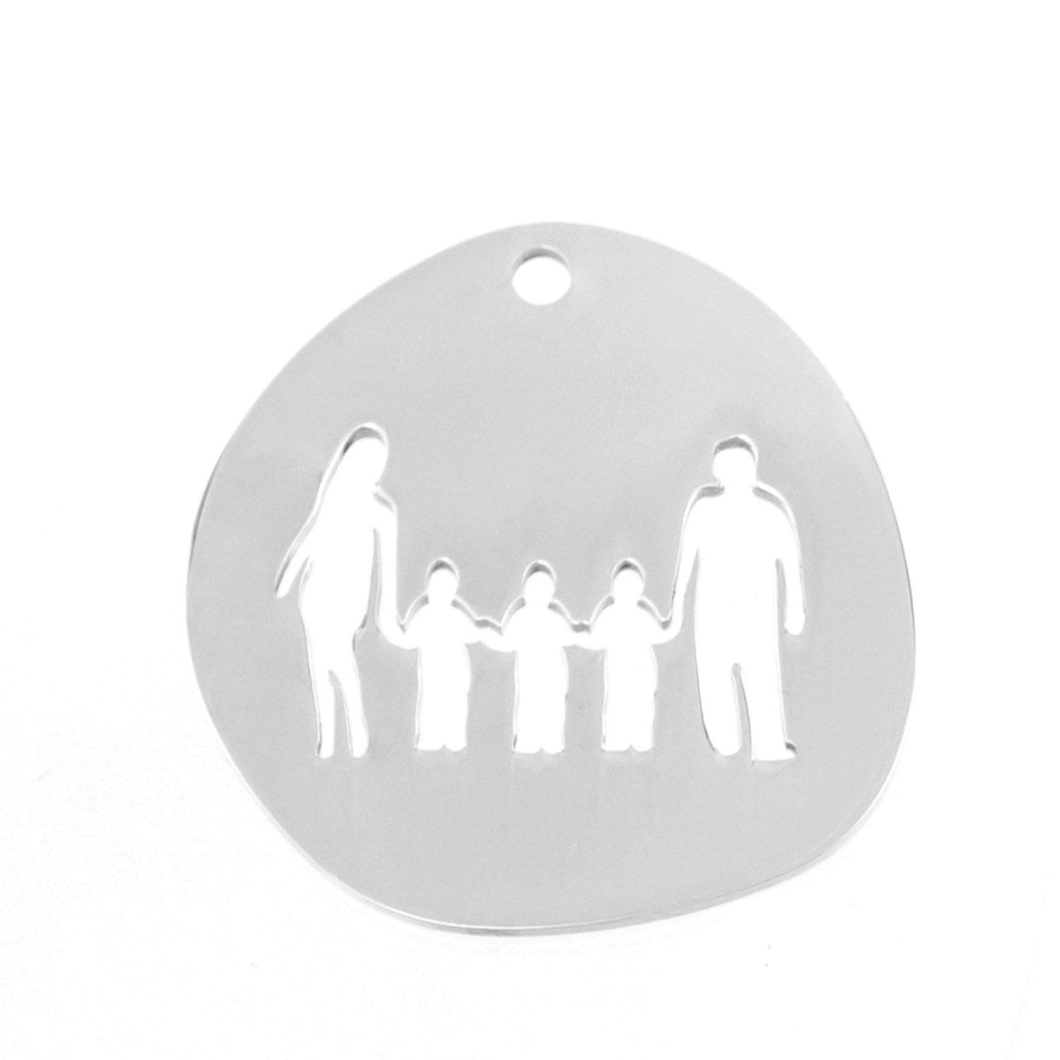 Family Pendants Dad Mum Children Boy Girls in Charms for Print Both Sides Mirror Polish Stainless Steel 100 Pcs,2 Girls
