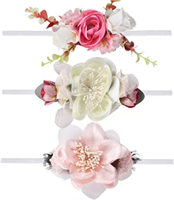 Ncmama Baby Floral Headbands Hair Bows Elastic Bands for Newborn Infant Toddler Hairbands