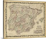 Great BIG Canvas Gallery-Wrapped Canvas entitled Johnson's Map of Spain and Portugal