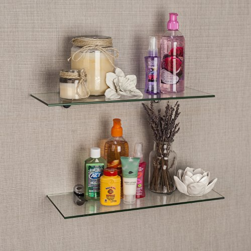 Review Set of 2 Clear Glass Floating Shelves with Chrome Brackets By Danya B by Danya B