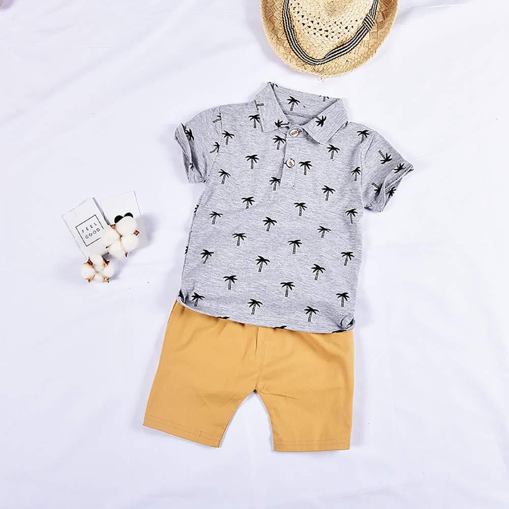 Shorts Kind 2 St/ück Kleidung Sets f/ür Alter 1-4 Jahre alt Shiningbaby Kinder Sommer Jungen Coconut Tree Poloshirt Top