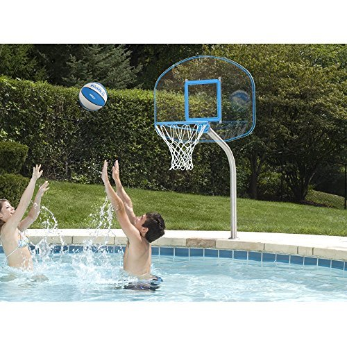 Dunnrite Junior Clear Hoop Deck Mounted Pool Basketball Hoop Set 14-inch Stainless Steel Rim