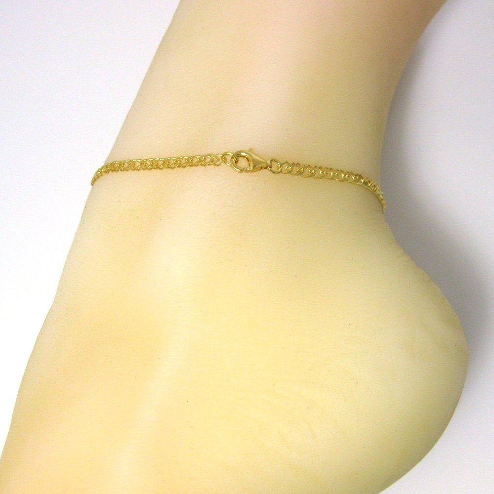 Gold Sterling Silver Double Diamond Cut Curb Necklace Chain All Sizes Fancy Gold Chain Necklace