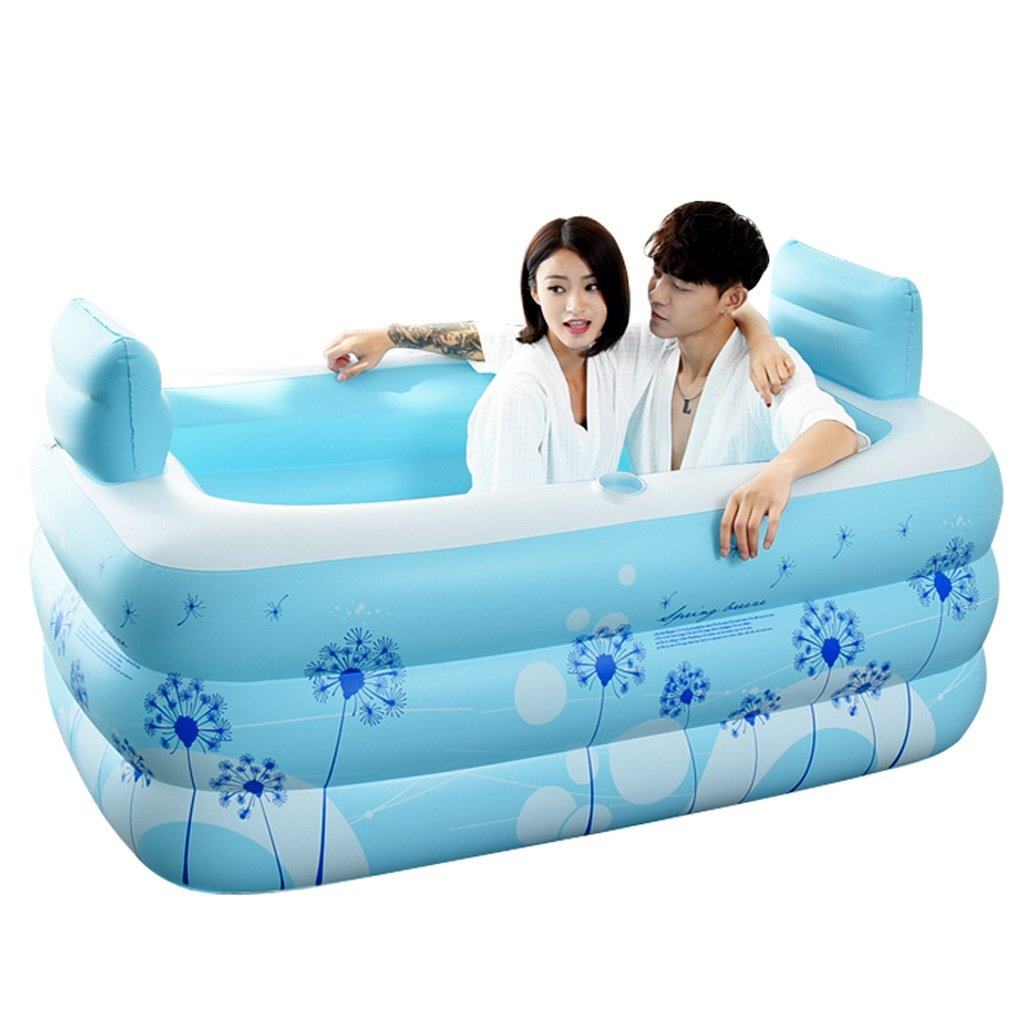 Bathtubs Freestanding Inflatable Bath Tub Adult Tub Stylish Home Bath Comfortable Folding Bath Tub Passion Double Couple Inflatable Blue Inflatable, Relieve Fatigue