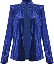 YiYLunneo Blazer for Women Sequin Jacket Long Sleeve Open Front Classic Glitter Cropped Blazer Party Clubwear