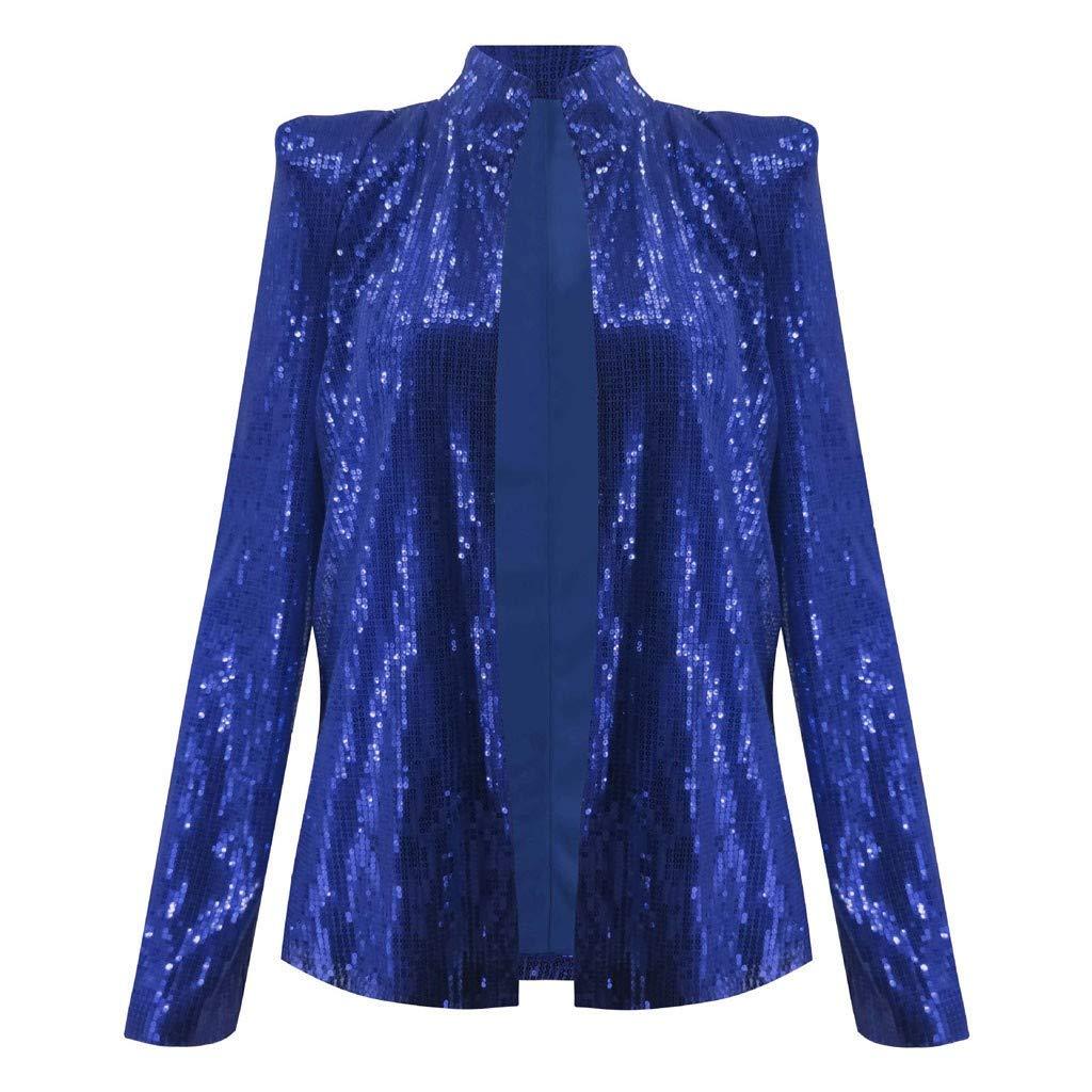 Respctful✿Women Sequins Coat Bomber Jacket Long Sleeve Zipper Streetwear Casual Loose Glitter Outerwear Blue by Respctful Women's Clothing