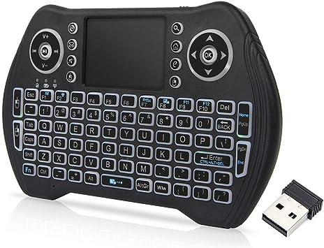 Docooler Retroiluminado 2.4 GHz Teclado Inalámbrico Touchpad Mouse Control Remoto de Mano 3 Colores Retroiluminación para Android TV Box Smart TV PC Portátil: Amazon.es: Electrónica