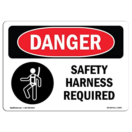 Amazon Osha Danger Sign Safety Harness Required Choose From