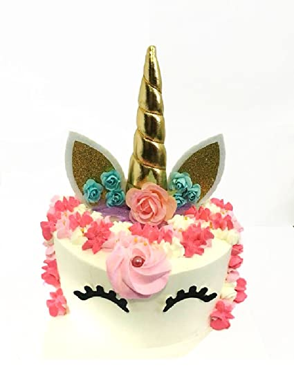 EL Handmade Unicorn Birthday Cake Toppers Set Horn Ears And Flowers