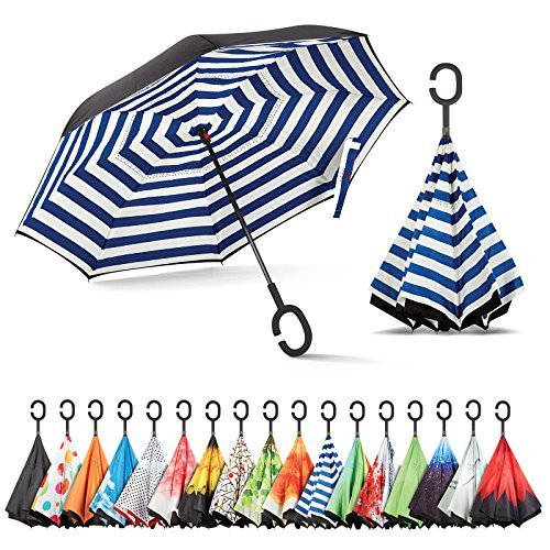 Sharpty Inverted Umbrella, Umbrella Windproof, Reverse Umbrella, Umbrellas for Women with UV Protection, Upside Down Umbrella with C-Shaped Handle (Stripe)