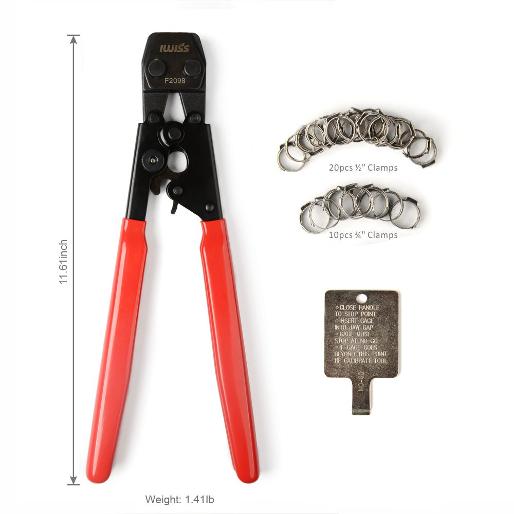 IWISS PEX Clamp Cinch Tool Crimping Tool Crimper for Stainless Steel Clamps from 3/8'' to 1'' with 1/2'' 20PCS and 3/4'' 10PCS SS PEX Clamps by IWISS (Image #2)