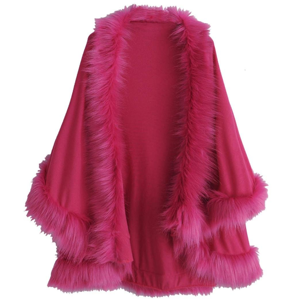 AutumnFall Women's Faux Fur Collar Poncho Cape Stole Wrap Hoody Sweater Coat (L, Hot Pink)