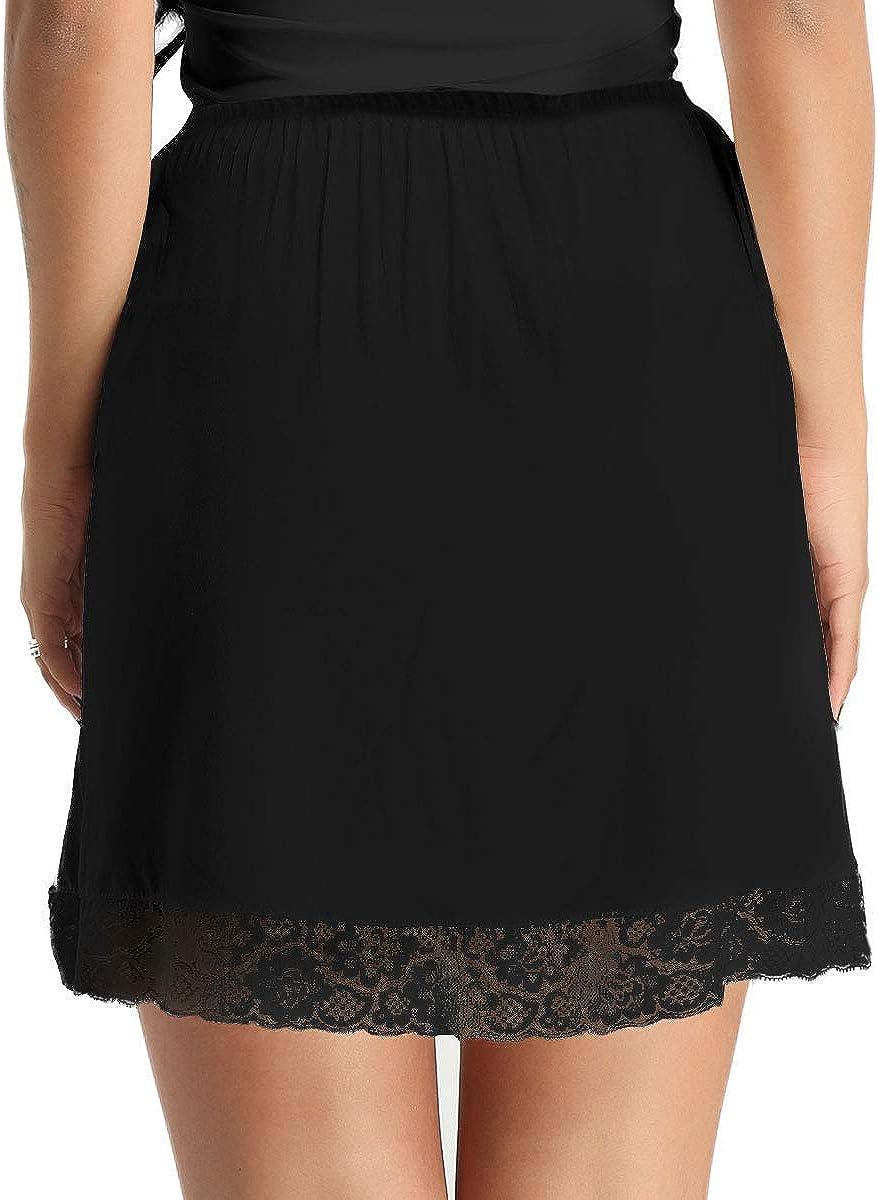 Oyolan Womens Lace Hem Half Slip Underskirts Petticoat Underwear Flared Midi Dress Underdress