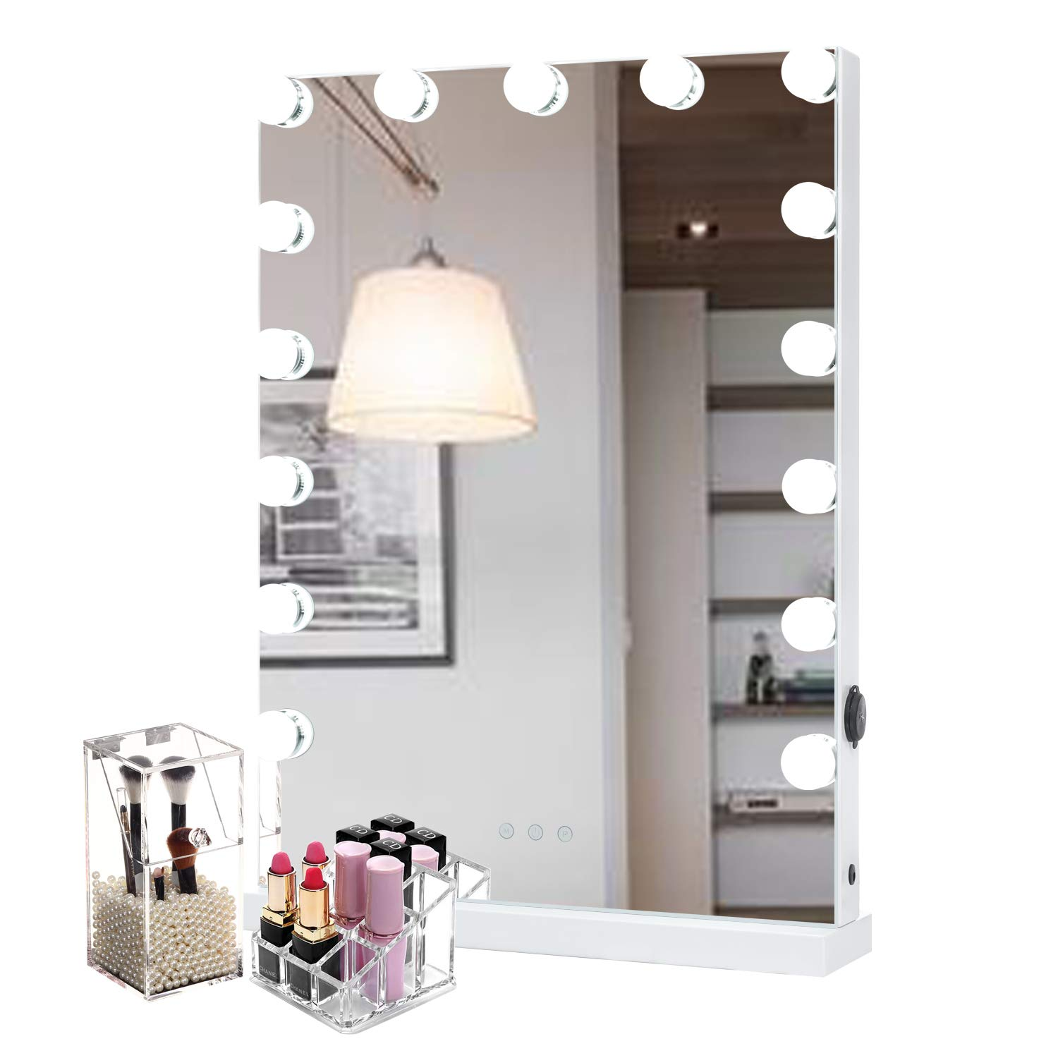 WAYKING Makeup Mirror with lights, Hollywood Vanity Mirror with Touch Screen Dimmer, USB Charging Port, 3 Color Lighting Modes, White L18.9 X H22.8 inch