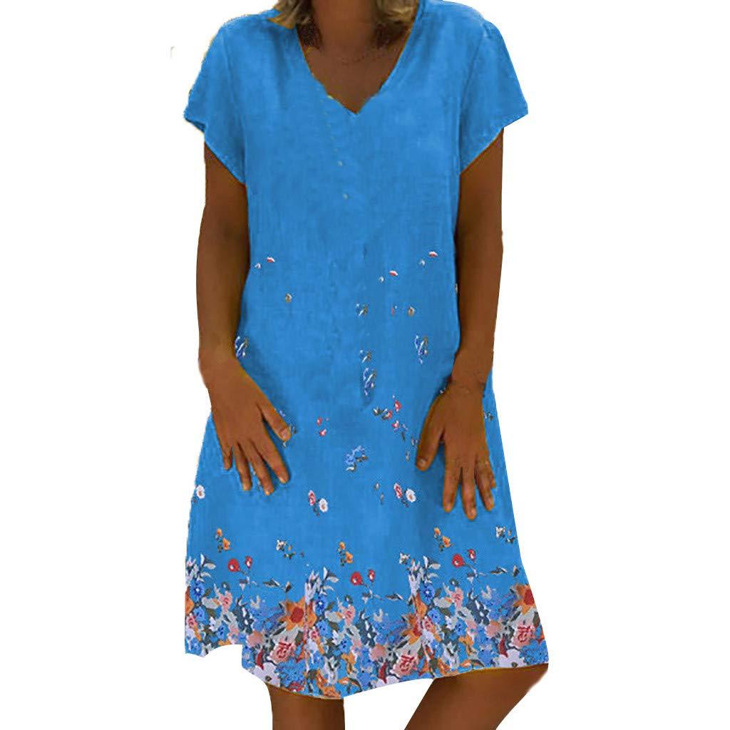 Nmch Women's Boho Print Casual Short Sleeve Mini Dress V-Neck Summer Fashion Loose Dresses Plus Size A-Line Dress(Blue,XXL)