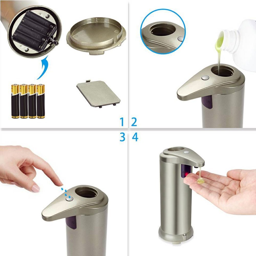 Fun Sponsor Automatic Soap Dispenser, 250ML Stainless Steel Touchless Liquid Sensor Soap Dispenser Soap Holder Hand Free with Waterproof Base for Kitchen Bathroom Champagne