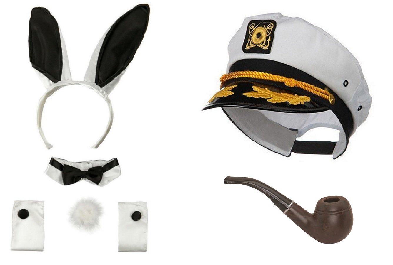 Nicky Bigs Novelties Sailor Ship Yacht Captain Hat Smoking Pipe Playboy Bunny Hugh HEFNER Costume Kit