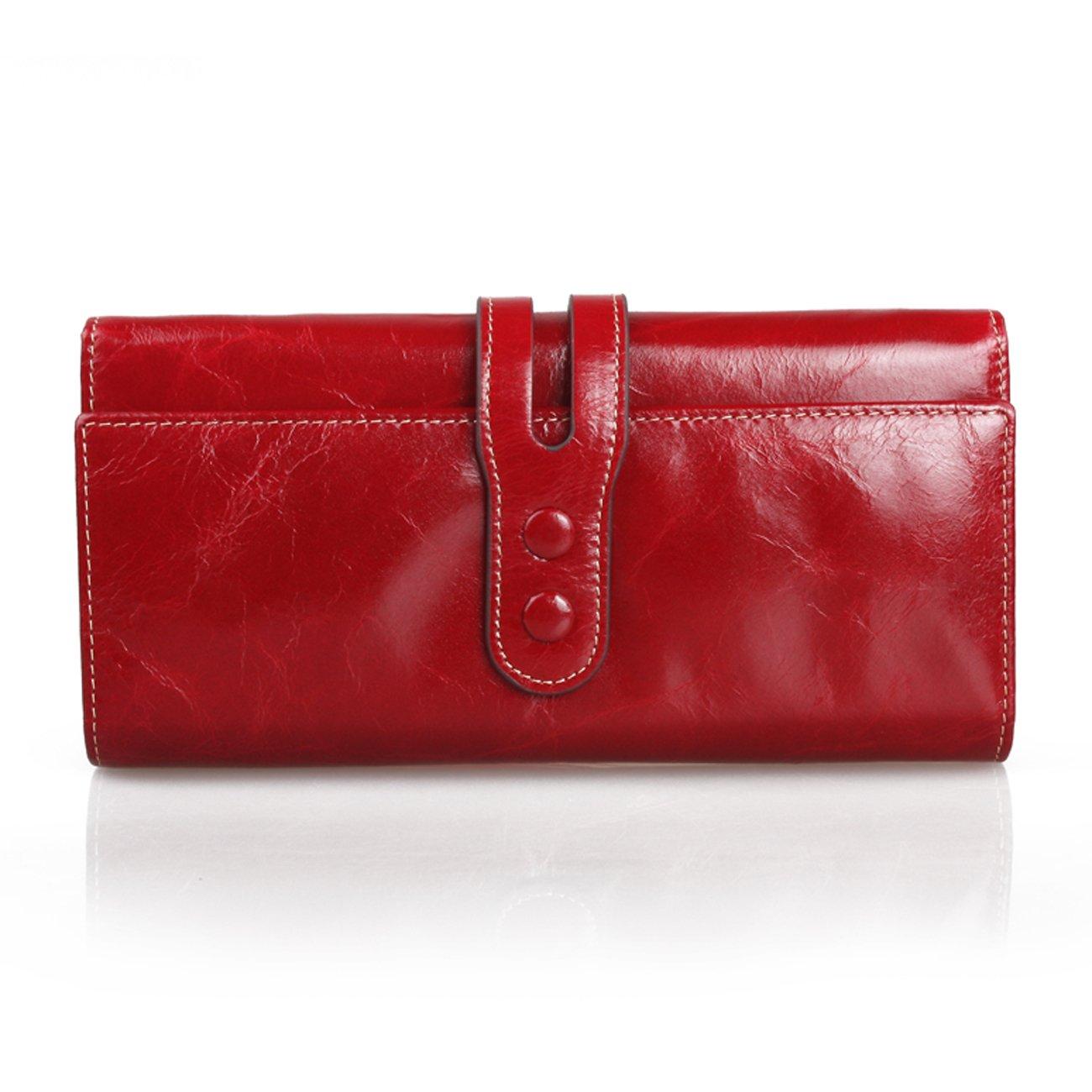 Billeteraの女性の財布レザークラッチ財布 B01LZK3KC3 レッド