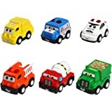 Mini Toy Cars Push Pull Back Car Play Set Construction Vehicles Race Trucks for 2 3 4 6 Years Old Baby Toddlers Kids Boys Party Favors Birthday Cake Toppers Decorations Pinata Filler Gift 6 Pack