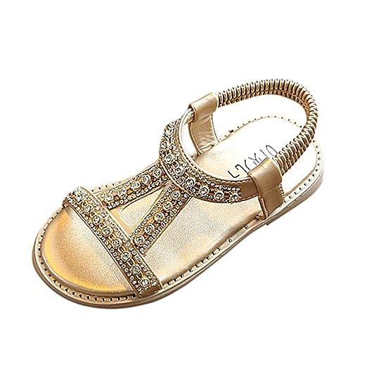 FAPIZI Summer Boho Kids Baby Girls Roman Sandals Crystal Beach Sandals  Princess Shoes (Gold db5d75b21939