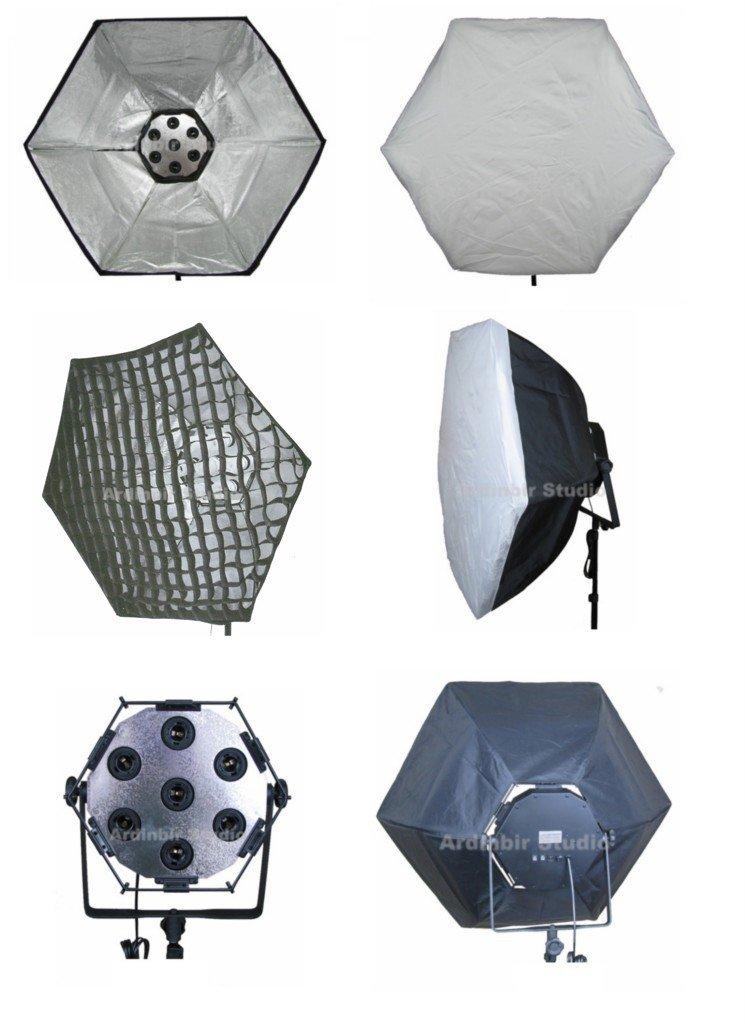 ''Ardinbir Studio Photography 7 head Fluorescent Continuous Lamp Light bulb socket panel with 38''''/95cm Softbox, white diffuser & Eggcrate Grid ''