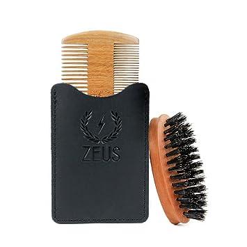 f194bfc38d69 ZEUS 100% Boar Firm Pocket Beard Brush + Organic Sandalwood Beard Comb Tool  Kit!