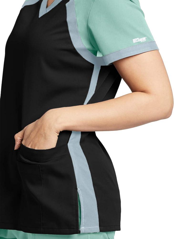 Grey's Anatomy Active 41435 Color Block V-Neck Top Black/Aqua Mist/Moonstruck M