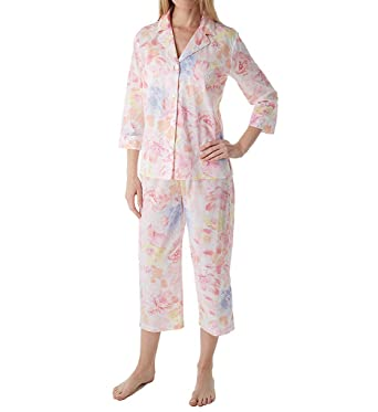 737e1f05eb5 Lauren Ralph Lauren Sleepwear Southern Belle 3/4 Sleeve Notch Collar PJ Set  (LN91567) at Amazon Women's Clothing store: