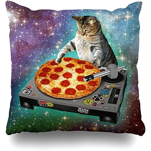 yaosh Fundas de Almohada Cojines DJ Galaxy Cat Pizza Stars ...