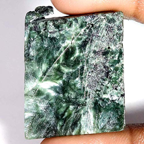 LARA GEMS STONES AND JEWELLERS 81.45Cts.100% Natural SERAPHINITE Rock Rough Slab for CABBING Gemstones