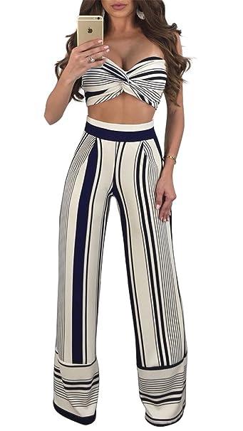 Amazon.com: aleng Mujer Sexy rayas trajes de dos piezas ...