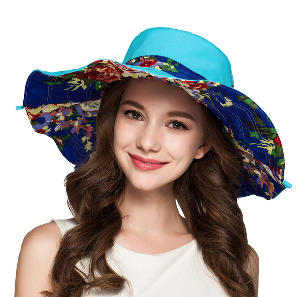 TUMIA Women's Summer Foldable Floppy Reversible Wide Brim Sun Hat with Bowknot UPF50+(Blue)