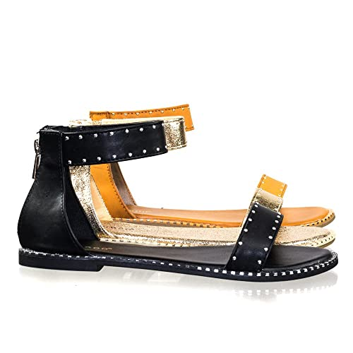 6a3cef5f99 Amazon.com | BAMBOO Rockstar Ankle Strap Flat Sandal w Metal Stud Rivets  Along Trimming | Sandals