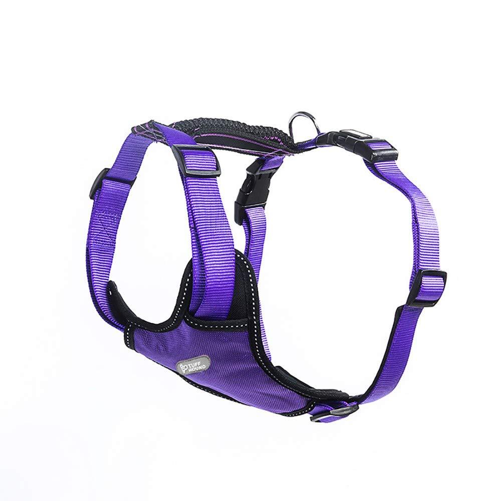 Purple Large Purple Large Dog Harness, Front clip pet vest harness, Reflective canvas dog strap, Harness handle, Outdoor adventure training, Adjustable