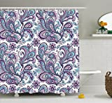 Paisley Shower Curtain Set by Ambesonne, Blue and Purple Large Flowers Leaves Floral Pattern Bohemian Style Country Print, Fabric Bathroom Decor with Hooks, 70 Inches, White Purple Blue