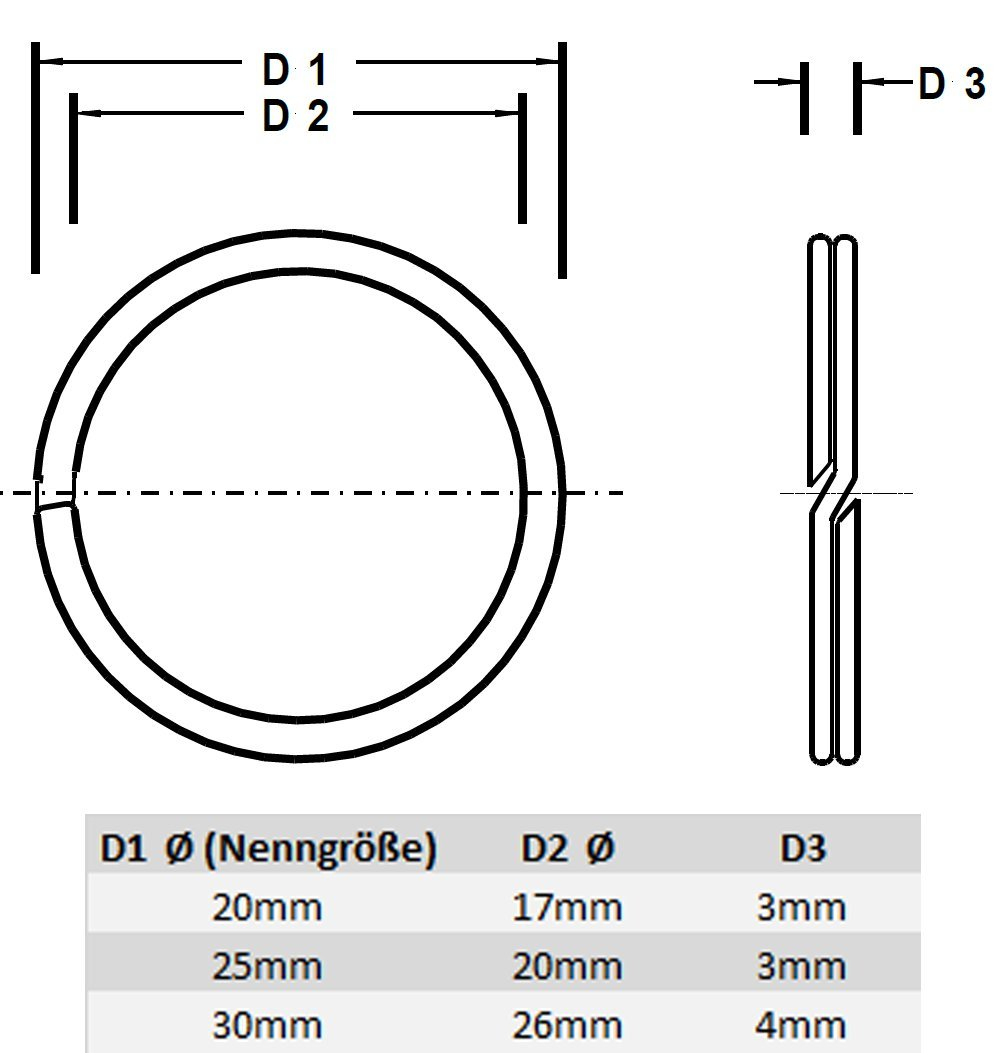 HEAVYTOOL AISI 420 WNr Schl/üsselringe 20mm /Ø Edelstahl 15 St/ück X20Cr13 geh/ärtet und poliert 1.4021