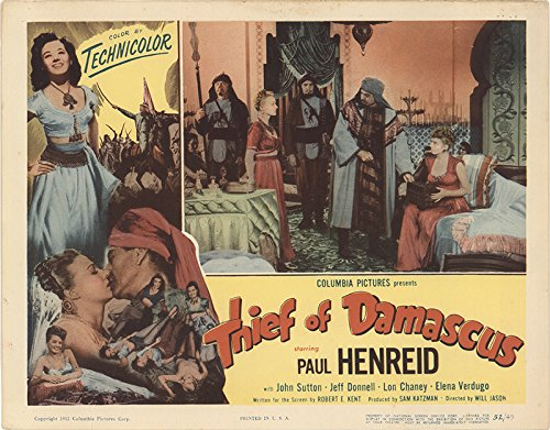 """Thief of Damascus 1952 Authentic 11"""" x 14"""" Original Lobby Card Jeff Donnell Fantasy"""